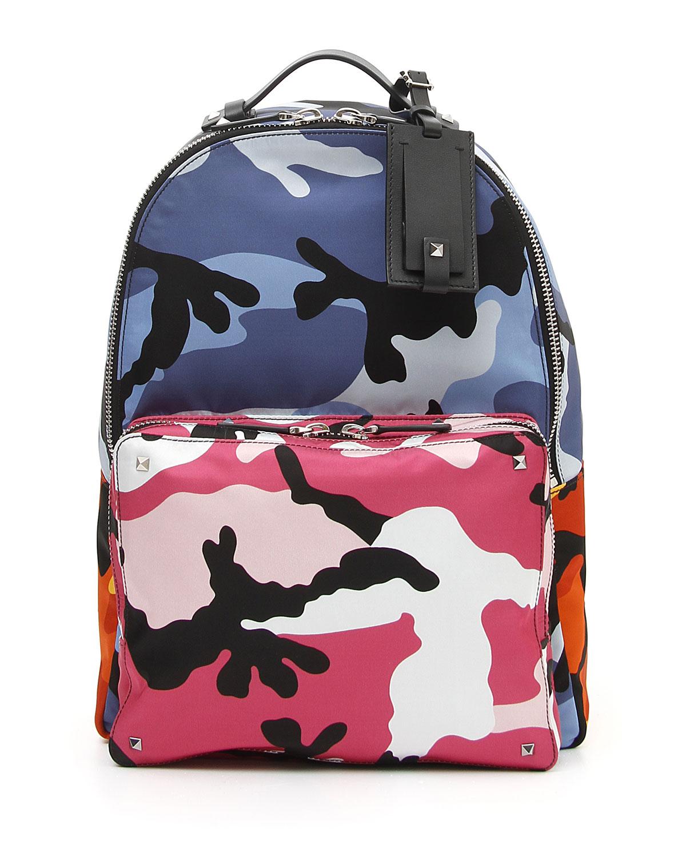Valentino Garavani Men s Multicolor Camo-Print Backpack  7822a6554a5ed