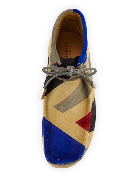 Men's Geometric Suede Wallabee/Moc Chukka Boot, Royal Blue/Gray/Black