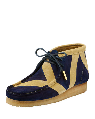 Men's Geometric Suede Wallabee/Moc Chukka Boot, Navy