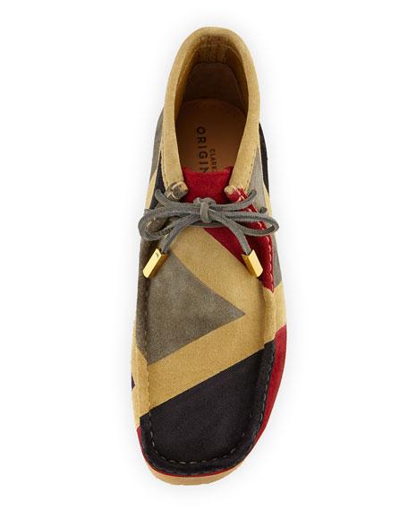Men's Geometric Suede Wallabee/Moc Chukka Boot, Red/Gray/Black