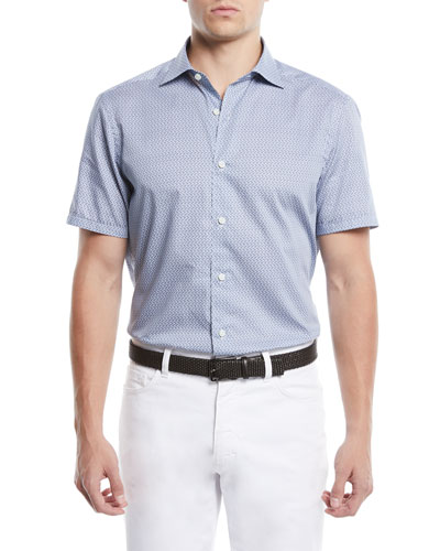 Men's Medium-Check Short-Sleeve Sport Shirt