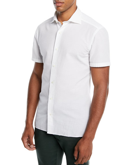 Ermenegildo Zegna Men's Short-Sleeve Seersucker Sport Shirt