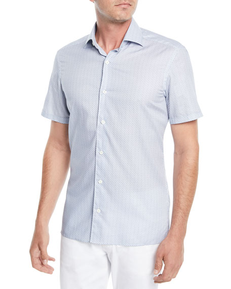Ermenegildo Zegna Men's Micro-Striped Short-Sleeve Sport Shirt