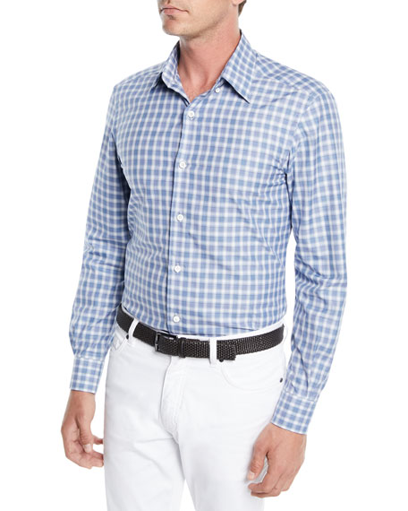 Ermenegildo Zegna Men's Textured Woven Check Sport Shirt