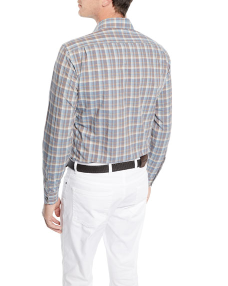 Men's Woven Large-Plaid Cotton Sport Shirt
