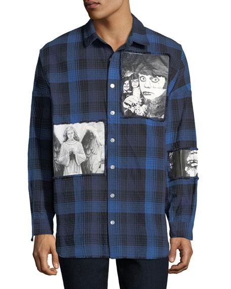 Men's Plaid Punk Art Graphic Shirt
