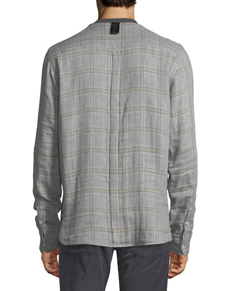 Solid-Front Plaid Shirt