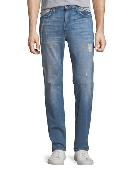 Men's Soder Slim-Straight Distressed Jeans, Crane