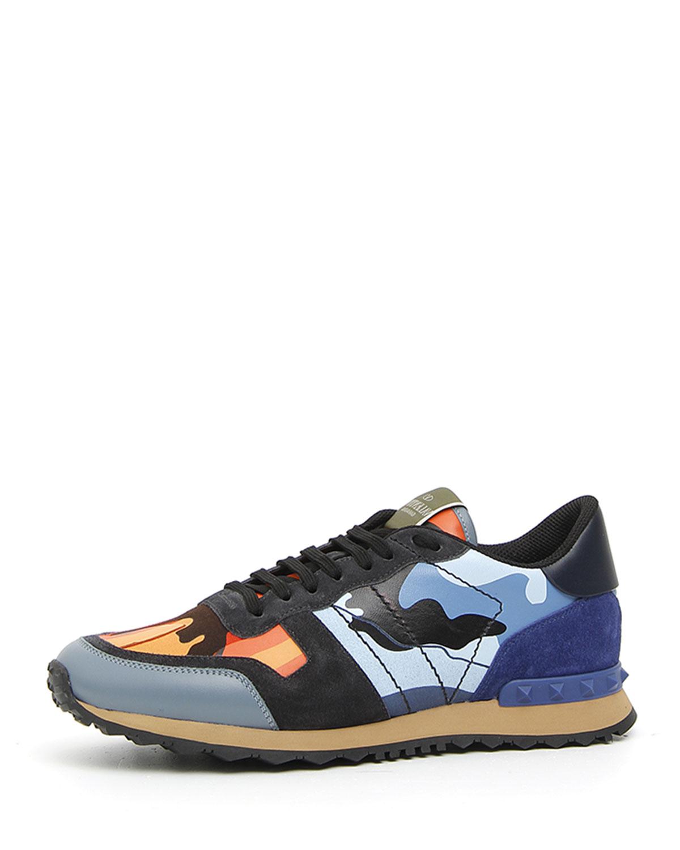 581b27322bcaf Valentino Garavani Men's Rockrunner Camo Trainer Sneakers | Neiman ...