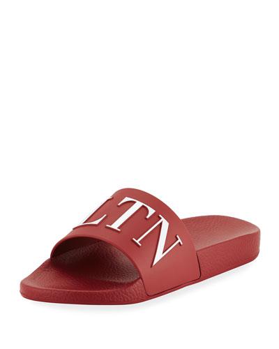 Men's VLTN Logo-Embossed Pool Slide Sandal