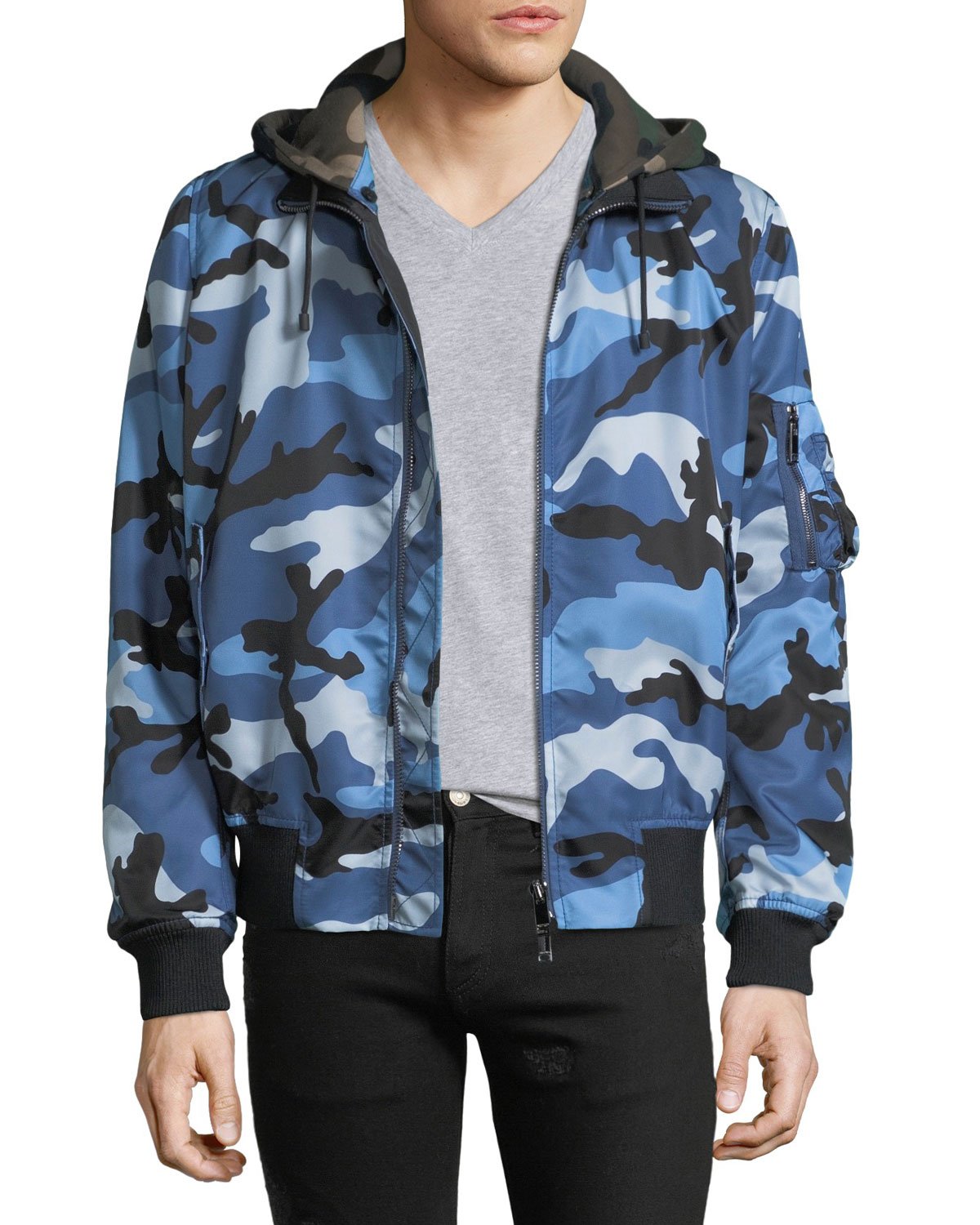 77a8257924e80 Valentino Men's Oversized Camo-Print Bomber Jacket with Removable Hood
