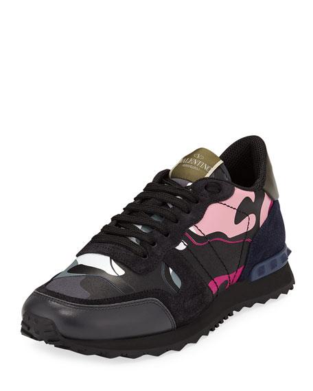 Valentino Garavani Men's Rockrunner Camo-Print Trainer Sneakers