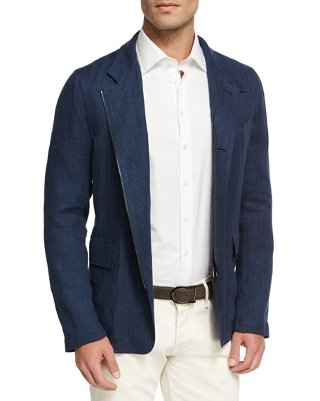 Loro Piana Roadster S Chevron Linen Jacket