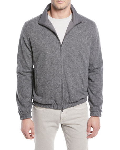 Men's Duo Cashmere Reversible Bomber Jacket, Gray