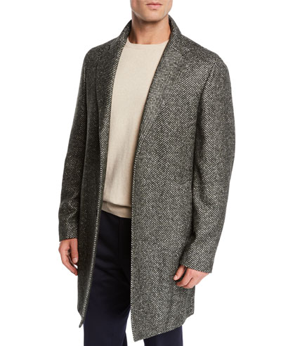 Men's Alpaca Wool Chevron Coat