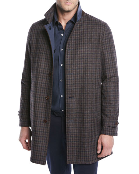Men's Reversible Plaid Coat