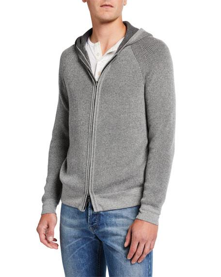 Men's Baby Cashmere Zip-Front Hoodie
