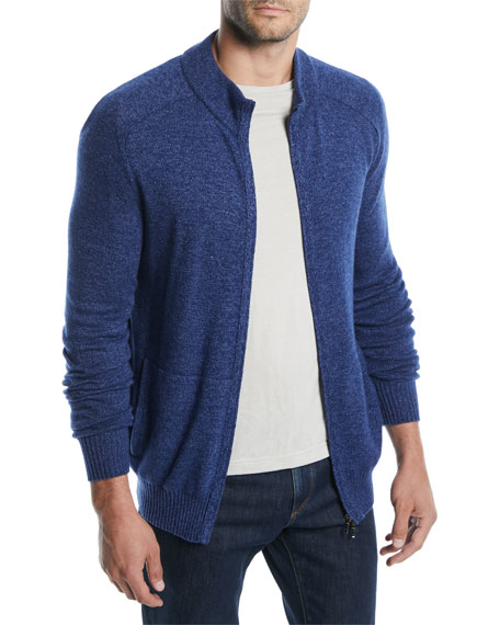 Loro Piana Men's Bantiger Cashmere-Silk Bomber Sweater