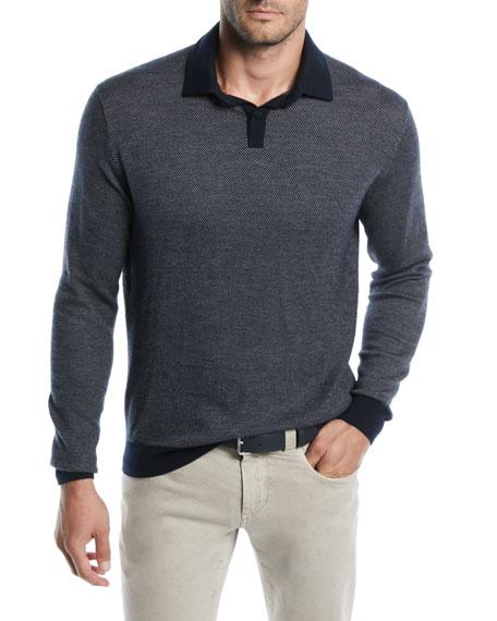 Loro Piana Men's Dalston Cashmere-Wool Polo Shirt