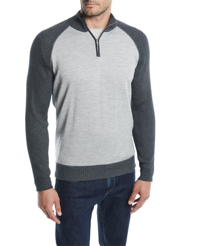 Men's Cashmere-Cotton Quarter-Zip Sweater