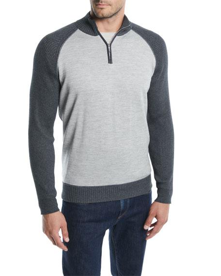 Loro Piana Men's Cashmere-Cotton Quarter-Zip Sweater