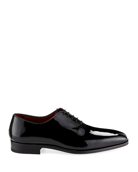 Men's One-Piece Patent Leather Oxford Shoe, Black