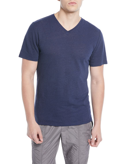 Vince Men's Heathered Linen/Cotton V-Neck T-Shirt