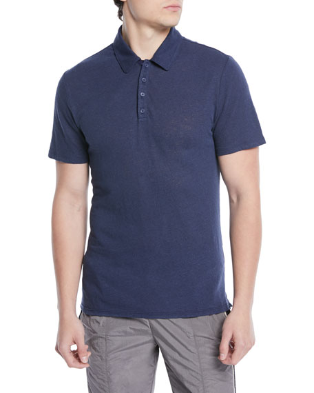Men's Heathered Linen/Cotton Knit Polo Shirt