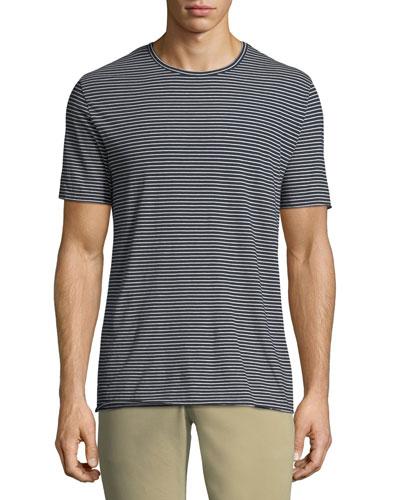 Men's Feeder Striped Wool/Cashmere Crewneck T-Shirt