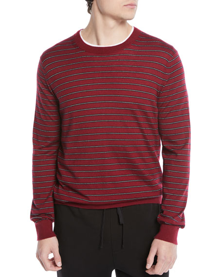 Men's Striped Wool/Cashmere Crewneck Sweater