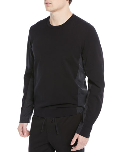 Mixed-Media Cotton Crewneck Sweater