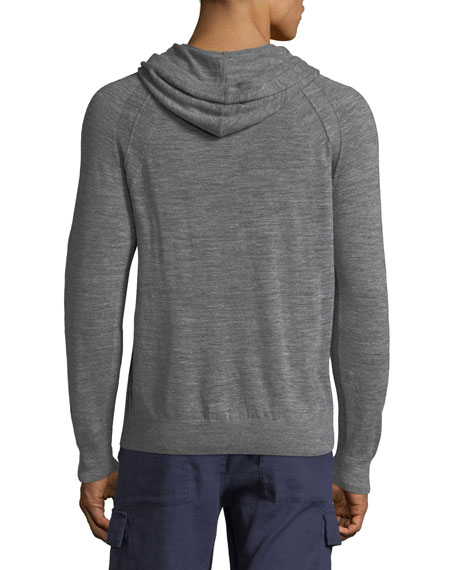 Men's Seamed Heathered-Knit Pullover Hoodie