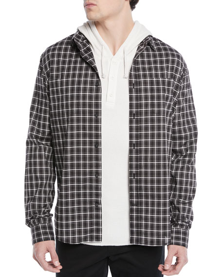 Men's Two-Tone Plaid Pocket Sport Shirt