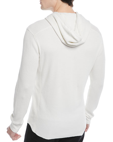 Men's Waffle-Knit Hooded Henley Sweater