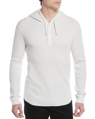 Men's Waffle-Knit Hooded Henley Sweater