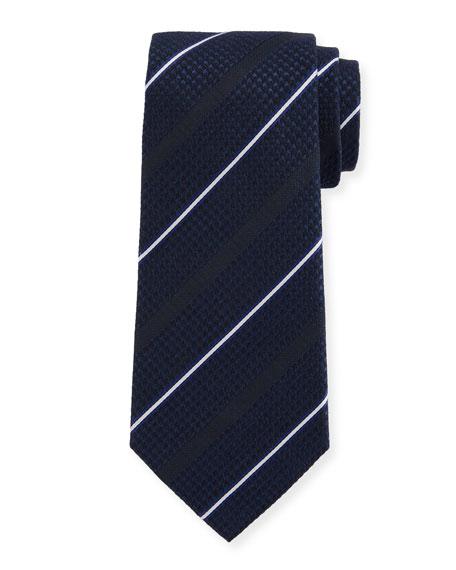 Triple-Stripe Silk/Wool Tie, Blue