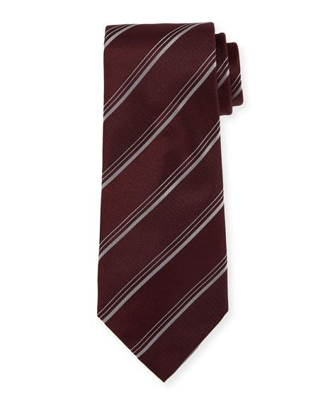 Triple-Stripe Silk/Wool Tie, Wine