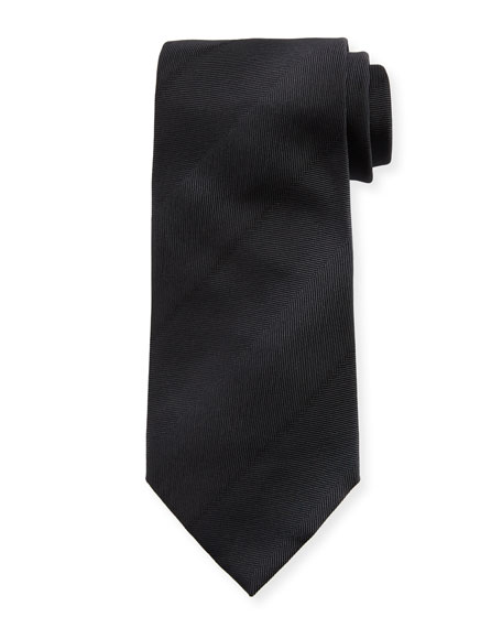 Faded-Stripe Silk Tie, Black