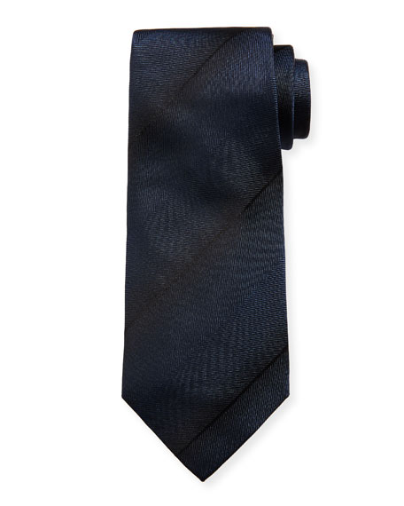 Faded-Stripe Silk Tie, Navy