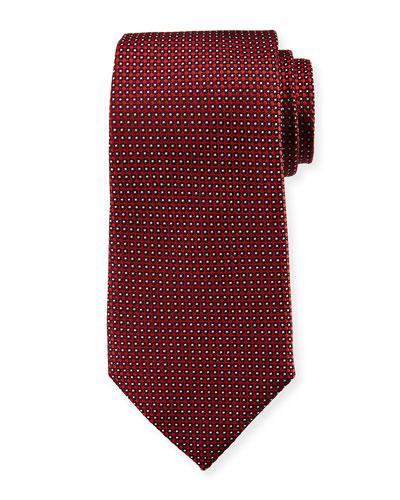 Neat Dot Silk Tie, Red