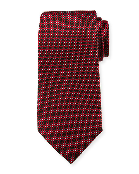 Emporio Armani Neat Dot Silk Tie, Red