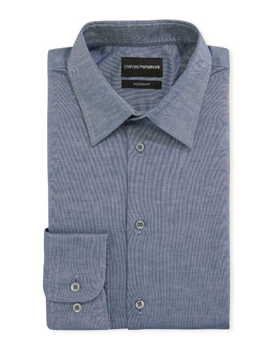 Men's Modern-Fit Stretch Chambray Dress Shirt