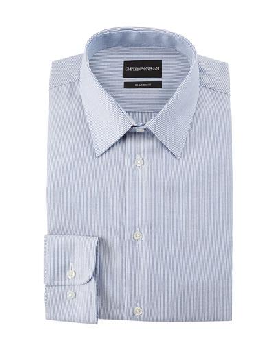 Men's Modern Fit Micro-Stripe Cotton-Blend Dress Shirt