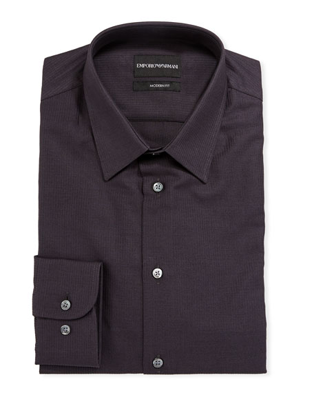 Emporio Armani Men's Modern-Fit Textured Cotton Dress Shirt