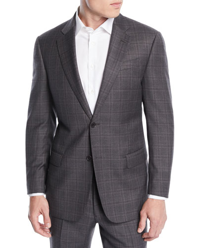 Men's Windowpane Wool Two-Piece Suit