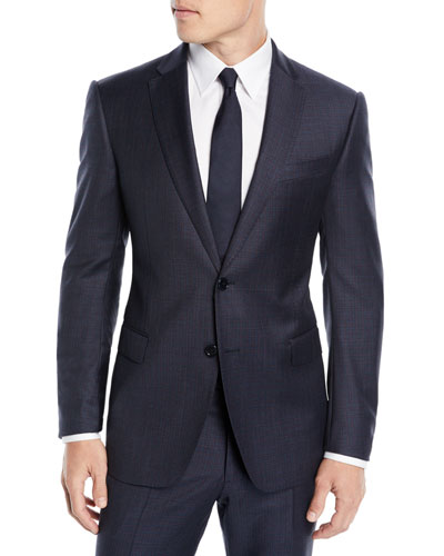 Men's Box-Pattern Wool Suit