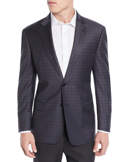 Emporio Armani Men's Tricolor Plaid Wool Jacket