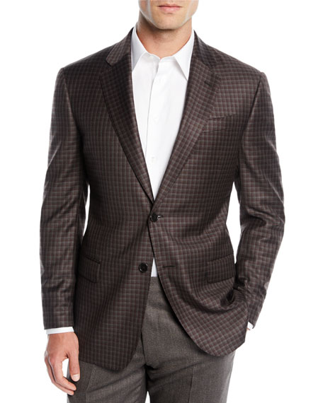Men's District Check Two-Button Wool Sport Coat Jacket