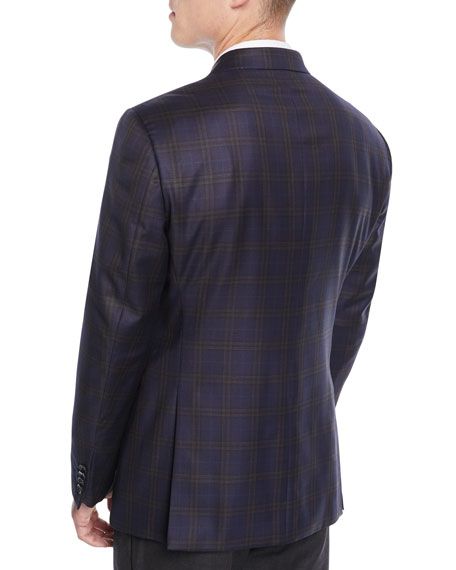Men's Wool Large-Windowpane Check Jacket