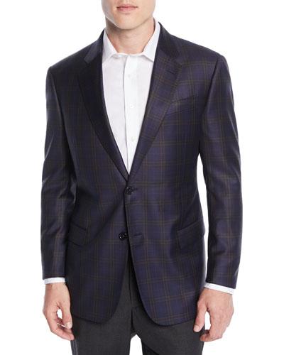 Men's Wool Large-Windowpane Check Jacket